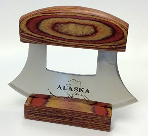 Alaska Ulu Knife Natural Exotic Wood Stand Etched Blade