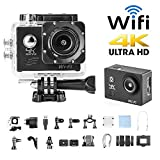 H9 Sport Camera Action Video Camera 4K WiFi Waterproof Sports Camera Full HD 4k 30fps 1080P 60fps 720p120fps Ultra HD Camera 16MP Photo and 170 Wide Angle Lens 2 Rechargeable 1050mAh Batteries Black