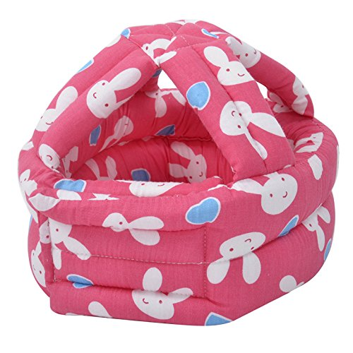 Baby Safety Helmet Adjustable Printed Head Guard Head Protector,Hot Pink Rabbit - Baby Safety Helmet