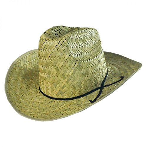 Jacobson Hat Company High Crown Texan Cowboy Western Sheriff Amish Farmer Straw Hat Costume Adult