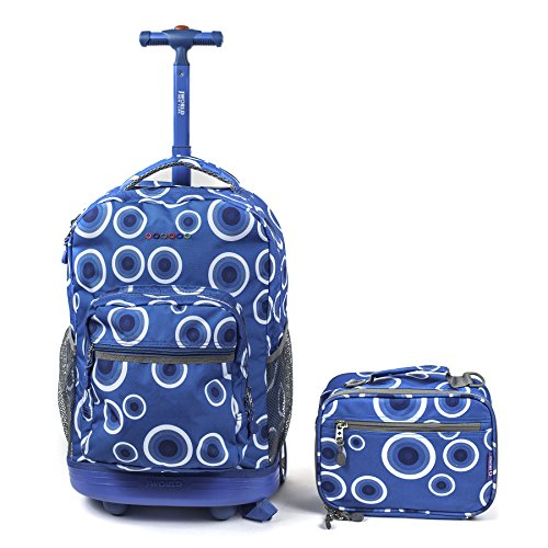 J World Sunrise Rolling Backpack & Cody Lunch Bag Set (Target Blue)