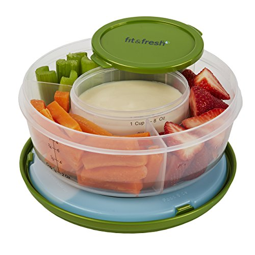 (Fit & Fresh Fruit and Veggie Bowl with Removable Ice Pack, Reusable BPA-Free Container with 4 Food Storage Compartments, Healthy On-the-Go Snack)