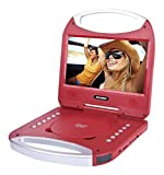 Sylvania 10-Inch Portable DVD Player with Integrated Handle and USB/SD Card Reader, Red