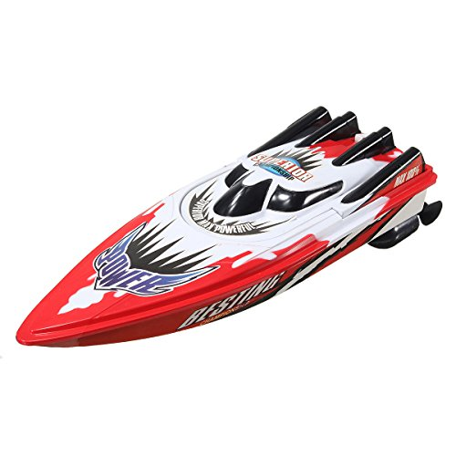 Rc Boats,REALACC Racing Boat 27Mhz 4CH Electric High Speed Boat for Pools for Lakes (Red) 27mhz Toys Radio Controlled