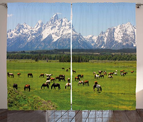 """Ambesonne Horse Curtains, Grand Teton National Park Snowy Mountains Fresh Greenery Trees Animals, Living Room Bedroom Window Drapes 2 Panel Set, 108"""" X 90"""", Green Blue"""