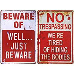 "Wonderwin Beware of Well Just Beware & No Trespassing We're Tired of Hiding The Bodies 8"" x 12"" Retro Metal Sign Vintage Bar Decor Yard Signs - 2 PCS"