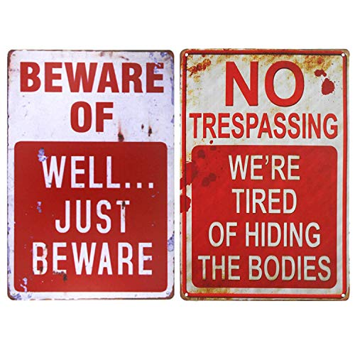Please Take Just One Halloween Sign (Wonderwin Beware of Well Just Beware & No Trespassing We're Tired of Hiding The Bodies 8