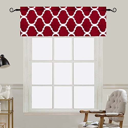 Melodieux Moroccan Fashion Room Darkening Rod Pocket Window Curtain Valance, 52 by 18 Inch, Red (1 (Red Window Treatment)