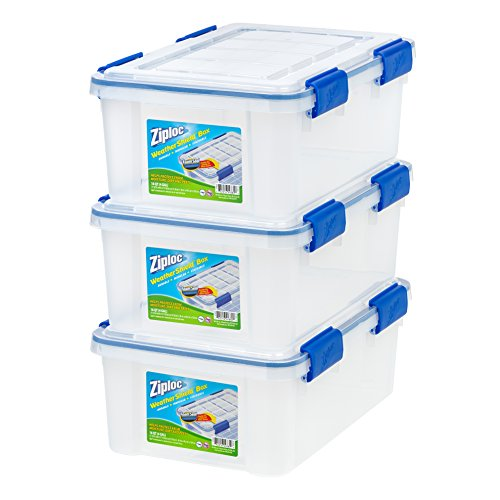 IRIS USA, Inc. Ziploc WeatherShield 16 Quart Storage Box, Clear, 3 Pack,]()