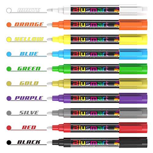 Chalk Markers, Blusmart 10pcs Bright Liquid Glass Window Pens with 40pcs Chalkboard Labels, Wet Wipe Erasable, 6mm Reversible Tips, Children Friendly Photo #4