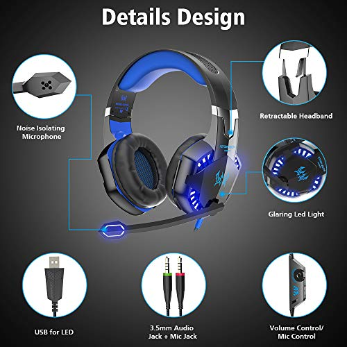 VersionTECH  G2000 Gaming Headset, Surround Stereo Gaming Headphones with  Noise Cancelling Mic, LED Light & Soft Memory Earmuffs, Works with Xbox  One,