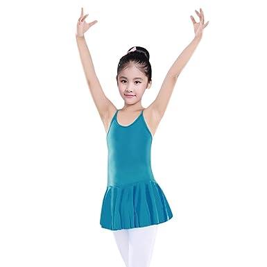 1e0bea4ef Orangeskycn Dance Dresses for Girls Straps Leotards Ballet Bodysuit Dancewear  Clothes Outfits (Blue, 3T