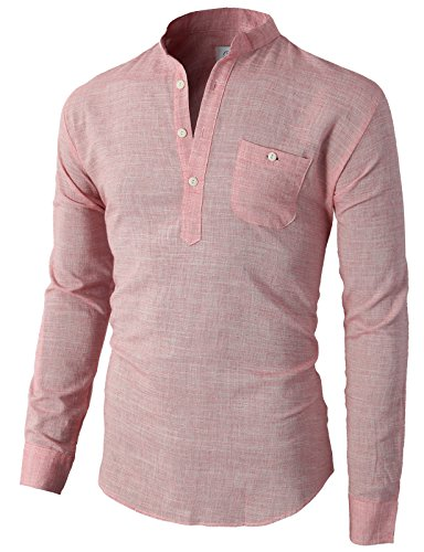 - H2H Mens Casual Henley Button-Down Slim Fit Roll-up Sleeve Shirt with Pocket RED US S/Asia M (KMTTL0350)
