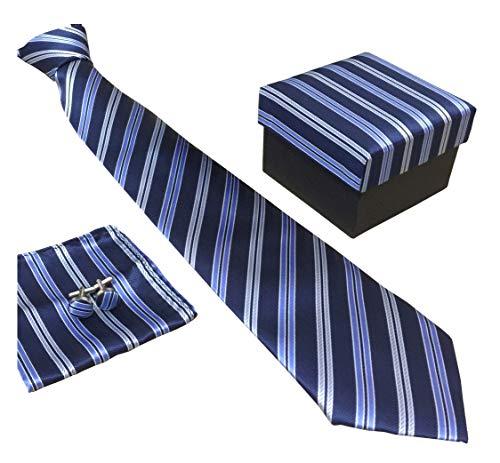 Secdtie Men's SILK Tie Set: Necktie+Hanky+Cufflinks,Light Blue Stripe Necktie 13