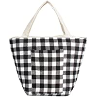 Joyfeelife Reusable Lunch Tote Bag for Girls Women Insulated Lunch Bag Adult Lunch Box Insulated Lunch Cooler Bag for Work School Travel (Check)