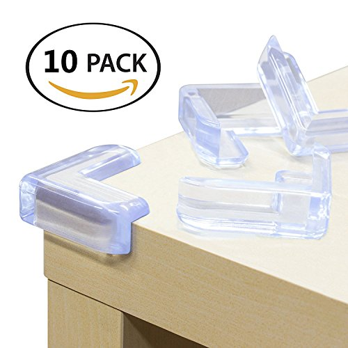 Baby Soft Corner Protectors 10 Packs Proofing Child Safety Corner Guards Caring Corner Bumpers for Furniture Edge Help Protect Child Against Bumps and Injuries Transparent with 3M Adhesive(L-Shaped)
