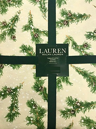 Ralph Lauren Christmas Winter Holiday Tablecloth - Snowy Pine Trees/Natural Green Pine Needles, Brown Pinecones, White Snowflakes on Natural/Cream Background - 100% Cotton (60 x 104 ()