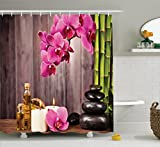 Ambesonne Spa Decor Collection, Spa Orchid Flowers Rocks Bamboo Asian Style Aromatherapy Massage Therapy Picture Print, Polyester Fabric Bathroom Shower Curtain Set with Hooks, Pink Green Beige