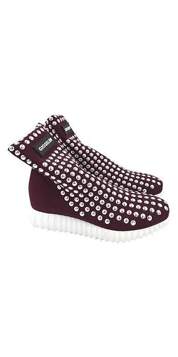 Gioselin Scarpa Donna Sneakers Borchie Light Studs Bordeaux  Amazon ... 76552b40172
