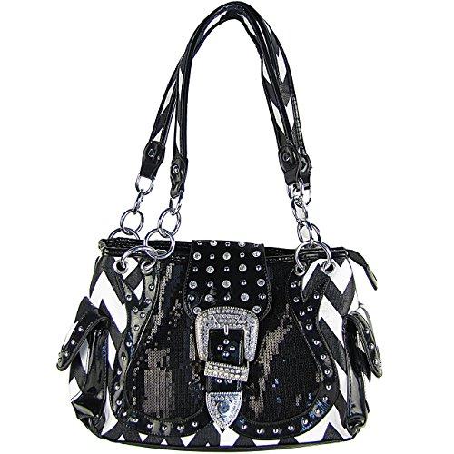 (Black Chevron Sequin Rhinestone Buckle Western Chain Handle Hobo Handbag)