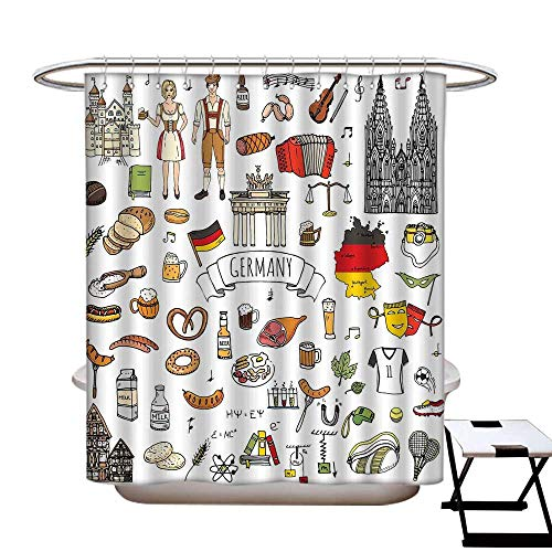 (German Polyester Fabric Shower Curtain Liner Hand Drawn Doodle of German Culture Icons Football Jersey Food Science and Music Shower Hooks are Included)