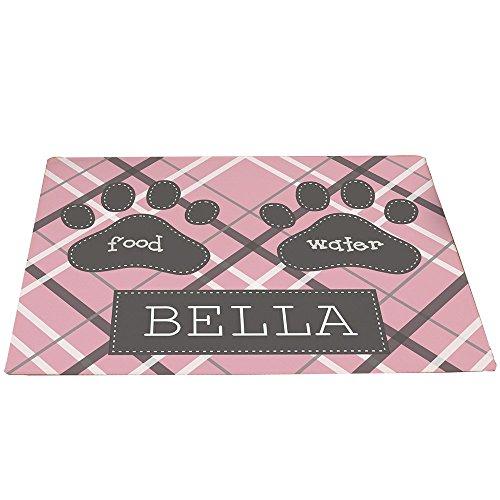 GiftsForYouNow Plaid Personalized Pet Feeding Mat, Pink (Dog Mat Personalized)
