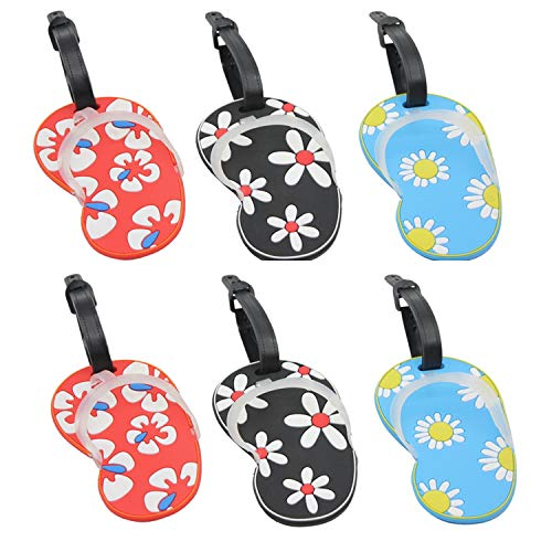 (LONG TAO 6 Pcs Flip Flop Luggage Tags Suitcase Bag Backpack Labels Ravel Baggage Tags (Blue, Red, Black) )