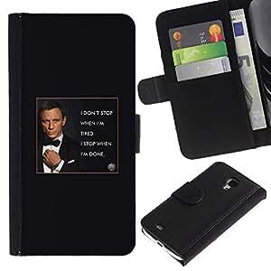 Paccase / Billetera de Cuero Caso del tirón Titular de la tarjeta Carcasa Funda para - James secret agent man poster text - Samsung Galaxy S4 Mini i9190 MINI VERSION!