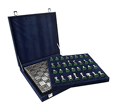 Brass Metal chess pieces set with Chess Board - Artistic Hand Carved Golden Silver pcs