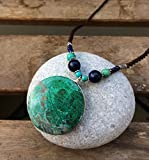 Natural Eilat stone necklace, Round Eilat stone pendant necklace, Macrame necklace, Luxury necklace, Jewelry from Israel, Spiritual, Gift