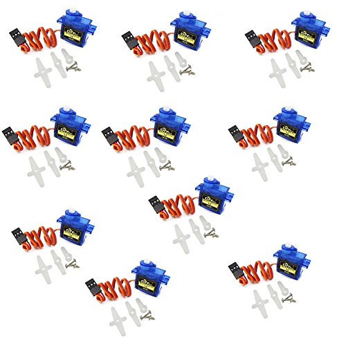 DIYmall Airplane 9g SG90 Mini Servo with Accessories for 450 RC Helicopter Airplane Car Boat(Pack of 10pcs)
