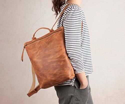 Mochila cuero marrón natural, mochila cuero cremallera, mochila piel marrón
