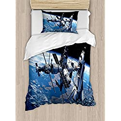Child Queen Bed Sets,Outer Space Duvet Cover Set,Space Shuttle and Station View Cosmonaut Adventure on Myst Globe Orbit Off,Include 1 Comforter Cover 1 Bed Sheets 2 Pillow Cases,Blue Grey Black