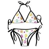 Guiping Womens Peace Symbol Old Lifestyle Sign Slogan Celebration Merry Jolly Sexy Biniki Swimwear Swimsuit Bathing Beach Swimming Suit