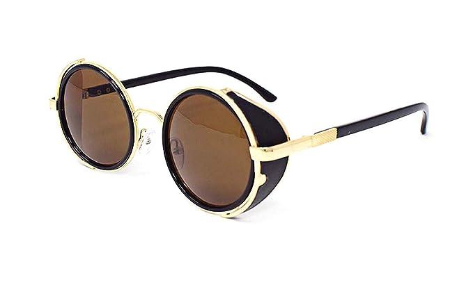 Lunettes de soleil ultra Steampunk 50 ans ronde verres UV400 protection  disponible en or argent brun 00cf4fec9a66