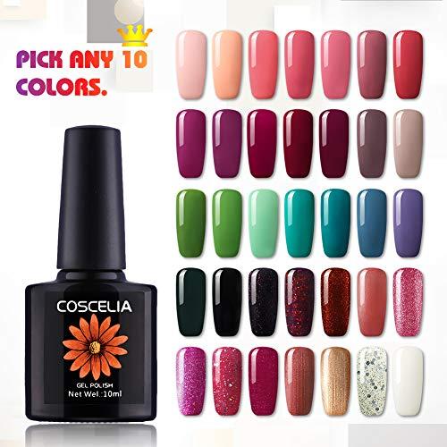 Coscelia Pick Any 10 Colors 0.34 fl.oz Soak off UV LED Gel Nail Polish Set Nail Manicure Kit