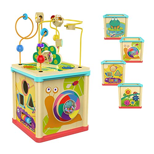 TOP BRIGHT Activity Cube Toys Baby Educational Wooden Bead Maze Shape Sorter for 1 Year Old Boy and Girl Toddlers Gift Middle Size
