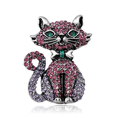 Coco Ribbon Glitter Pink Cat Kitty Pet Brooch Brooches Designer Jewelry - Brooch Pin Designer