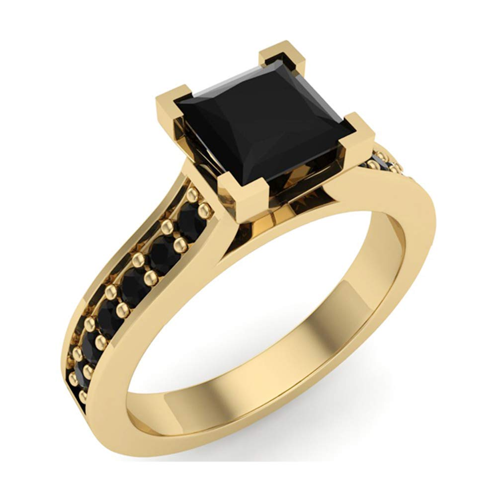 Princess Cut Black Diamond Engagement Ring 14K Yellow Gold 1.00 ct tw (Ring Size 6)