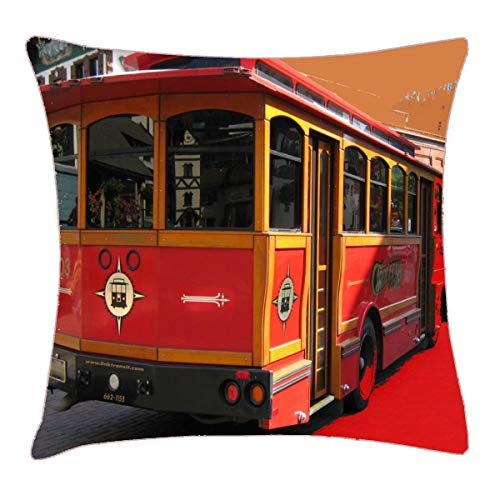 HFYZT Trolley Bus Digitally Enhanced Photo Throw Pillow Cover 18x18 Inch Two Sides Design Printed Pillowcase