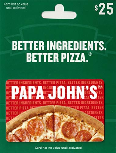 Pizza Gift Card - Papa John's Pizza $25 Gift Card