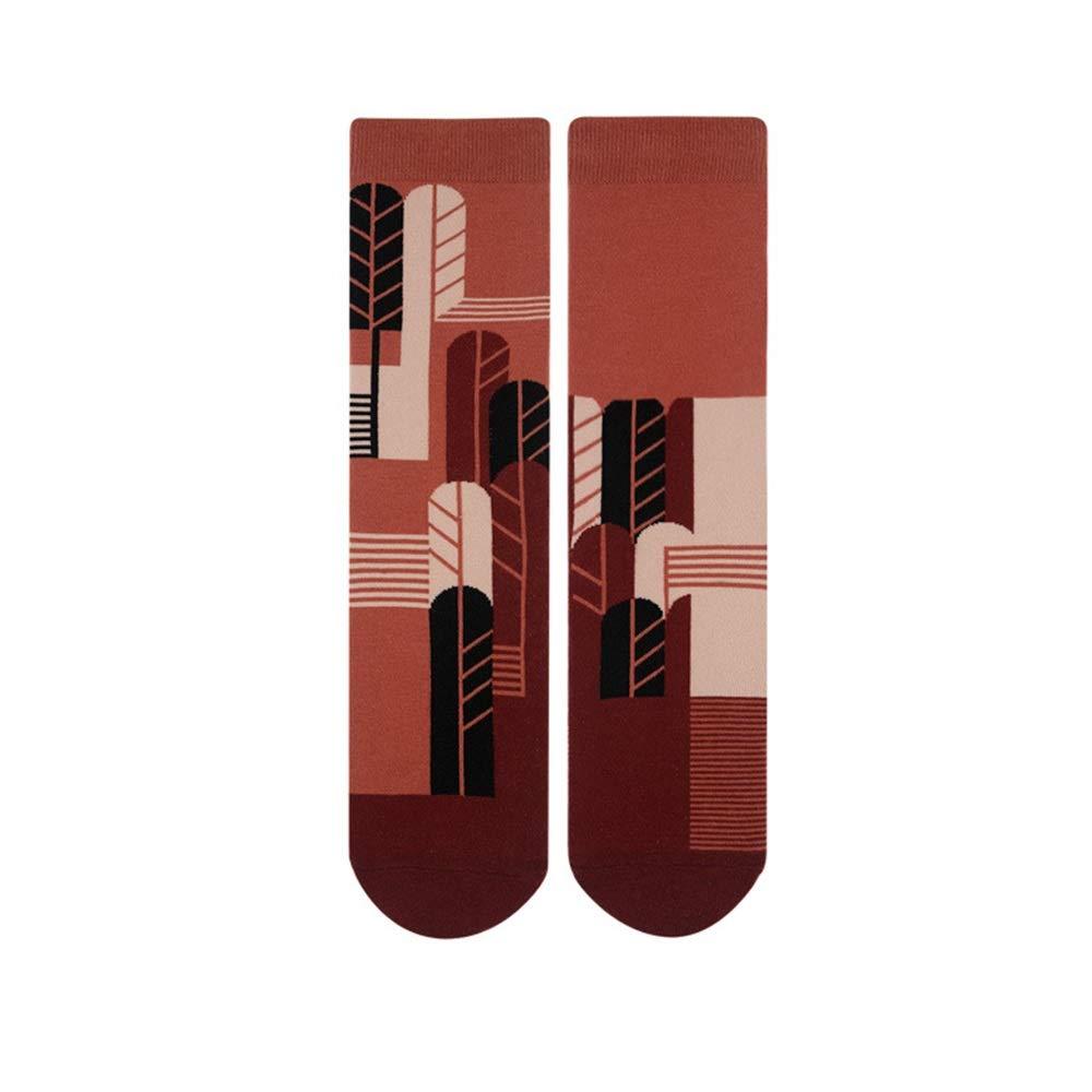 CHUHJ 6 paia di calzini unisex a righe e pied de poule calzini in cotone AB con motivi colorati , calzini colorati in cotone fantasia casual casuali (EU 35-42) (UK 2-8.5)