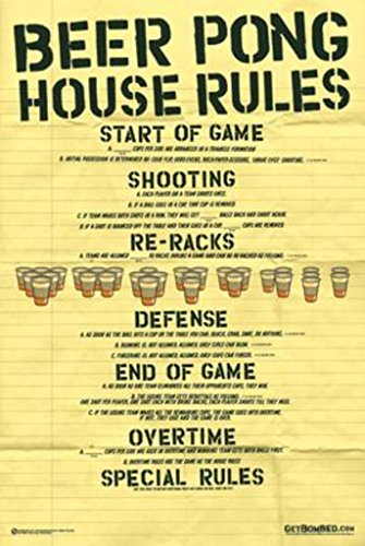 Beer Pong House Rules College Drinking Alcohol Poster 24 x 36 inches