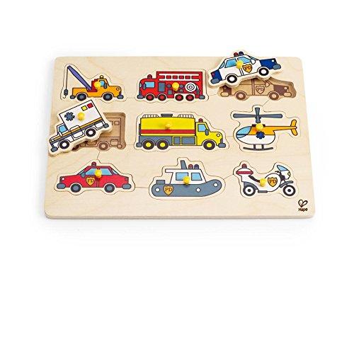 Construction Vehicles Shaped Puzzle - Hape Emergency Vehicles Toddler Wooden Peg Puzzle