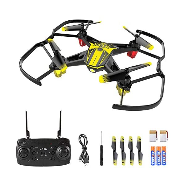 AFUNX Drones for Kids and Beginners, Mini Drone with LED Lights, Altitude Hold, Headless Mode, One Key Takeoff/Landing, 3 Speed Modes, 3D Flips and Extra Batteries, Kids Drone Toys for Boys and Girls