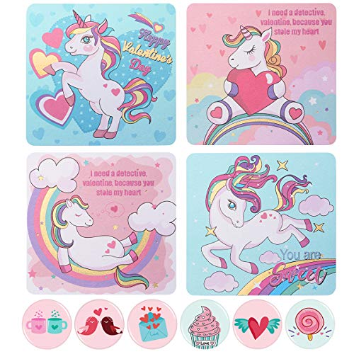 Amosfun 24PCS Valentines Day Unicorn Greeting Cards Valentine Card Kit with 24PCS Envelopes and 24PCS Tin Badges