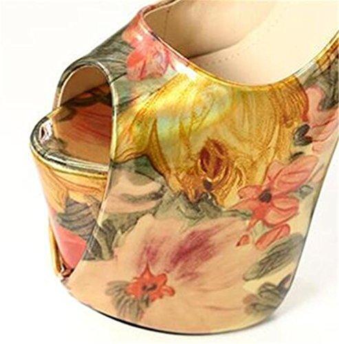 sandales Toe à Fête et forme xie soirée Talon club Taille Pompes haut Des EU39 pour bloc Open Chaussures 41 35 Impression GOLD femmes Plate qxa4zR