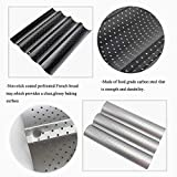 French Baguette Pan Non-stick Coated Pan Perforated French Bread Baking Tray Porous Bread Tray 13 Inches 4 Groove Wave Bread Baking Tool