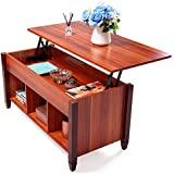 JAXPETY Modern Wood Lift Up Top Coffee/End Table with Storage Space Living Room Brown