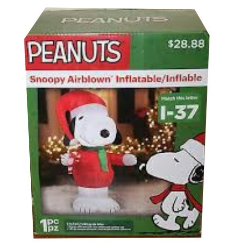 Peanuts Chirstmas Snoopy with Candy Cane Blowup Inflatable Lawn Decoration by Peanuts